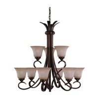 Rialto 9 Light 32 inch Russet Bronze Chandelier Ceiling Light in Ginger Glass