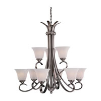 Rialto 9 Light 32 inch Antique Brushed Nickel Chandelier Ceiling Light in Etched White Alabaster Glass