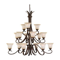Rialto 15 Light 45 inch Russet Bronze Chandelier Ceiling Light in Ginger Glass