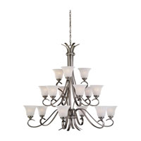 Rialto 15 Light 45 inch Antique Brushed Nickel Chandelier Ceiling Light in Etched White Alabaster Glass