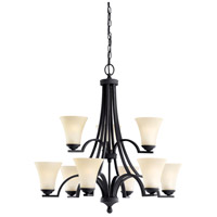 Sea Gull 31377BLE-839 Somerton 9 Light 30 inch Blacksmith Chandelier Multi-Tier Ceiling Light in Cafe Tint Glass, Fluorescent photo thumbnail
