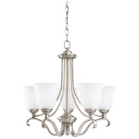 Parkview 5 Light 24 inch Antique Brushed Nickel Chandelier Ceiling Light in Satin Etched Glass