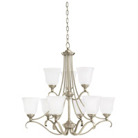 Parkview 9 Light 31 inch Antique Brushed Nickel Chandelier Ceiling Light in Satin Etched Glass