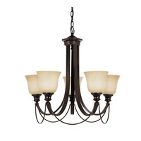 Park West 5 Light 27 inch Burnt Sienna Chandelier Single-Tier Ceiling Light in Fluorescent