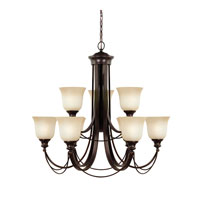 Sea Gull Park West 9 Light Chandelier Multi-Tier in Burnt Sienna 31498BLE-710