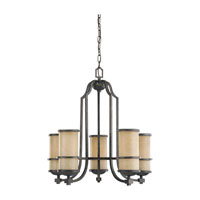 Roslyn 5 Light 23 inch Flemish Bronze Chandelier Single-Tier Ceiling Light in Fluorescent