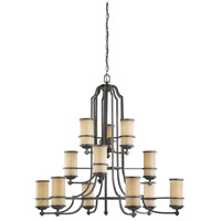 Roslyn 12 Light 45 inch Flemish Bronze Chandelier Multi-Tier Ceiling Light in Fluorescent