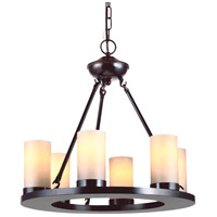 Ellington 6 Light 21 inch Burnt Sienna Chandelier Ceiling Light in Fluorescent