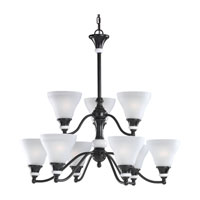 Sea Gull Lighting Brixham 9 Light Chandelier in Rustic Bronze with Ceramic Style Inlay 31593-855 photo thumbnail