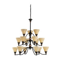 Sea Gull Lighting Brixham 15 Light Chandelier in Rustic Bronze with Hammered Copper Inlay 31594-844 photo thumbnail