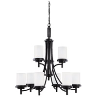 Winnetka 9 Light 32 inch Blacksmith Chandelier Ceiling Light in Satin Etched Glass, Standard