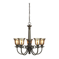 Blayne 5 Light 26 inch Platinum Oak Chandelier Single-Tier Ceiling Light in Standard