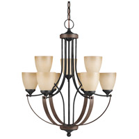 Sea Gull Corbeille 9 Light Chandelier Multi-Tier in Stardust / Cerused Oak 3180409BLE-846