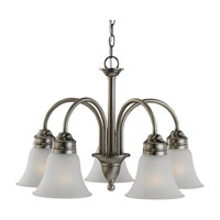 Gladstone 5 Light 23 inch Antique Brushed Nickel Chandelier Ceiling Light in Satin Etched Glass, Standard