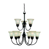 Sea Gull 31852-782 Gladstone 9 Light 30 inch Heirloom Bronze Chandelier Ceiling Light in Smokey Amber Glass, Standard photo thumbnail