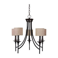 Stirling 5 Light 23 inch Burnt Sienna Chandelier Ceiling Light in Beige Linen Fabric