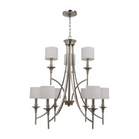 Stirling 9 Light 30 inch Brushed Nickel Chandelier Ceiling Light in White Linen Fabric