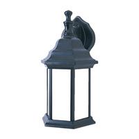 One Light Fluorescent Outdoor Wall Lantern in Black Finish Cast Aluminum and White Glass