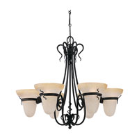 Sea Gull Lighting Saranac Lake 6 Light Chandelier in Forged Iron 3211-185