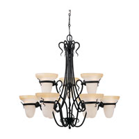 Sea Gull Lighting Saranac Lake 9 Light Chandelier in Forged Iron 3212-185 photo thumbnail