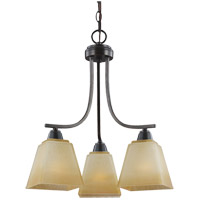 Parkfield 3 Light 18 inch Flemish Bronze Chandelier Ceiling Light in Creme Parchement Glass, Standard