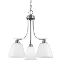 Parkfield 3 Light 18 inch Brushed Nickel Chandelier Ceiling Light in Etched Glass Painted White Inside, Fluorescent