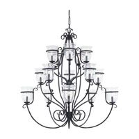 Sea Gull Lighting Manor House 15 Light Chandelier in Weathered Iron 3405-07 photo thumbnail