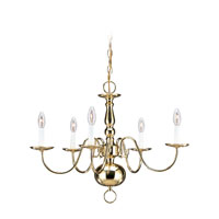 Sea Gull 3410-02 Traditional 5 Light 24 inch Polished Brass Chandelier Ceiling Light