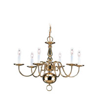 Traditional 6 Light 24 inch Polished Brass Chandelier Ceiling Light