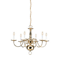 Signature 6 Light 24 inch Polished Brass Chandelier Ceiling Light