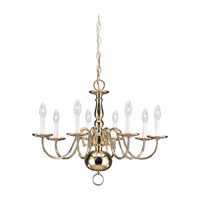 Sea Gull Lighting Traditional 8 Light Chandelier in Polished Brass 3412-02 photo thumbnail