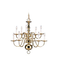 Sea Gull Lighting Traditional 10 Light Chandelier in Polished Brass 3413-02