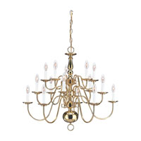 Sea Gull Lighting Traditional 15 Light Chandelier in Polished Brass 3414-02 photo thumbnail