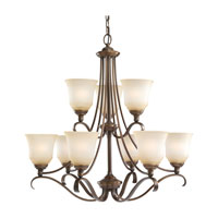Parkview 9 Light 31 inch Russet Bronze Chandelier Ceiling Light in Ginger Glass