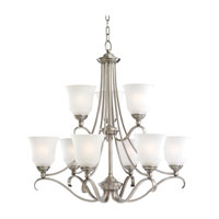 Sea Gull 39381BLE-965 Parkview 9 Light 31 inch Antique Brushed Nickel Chandelier Ceiling Light in Satin Etched Glass photo thumbnail
