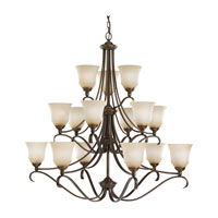 Parkview 15 Light 43 inch Russet Bronze Chandelier Ceiling Light in Ginger Glass