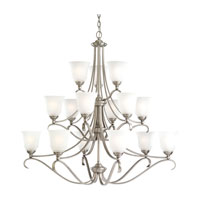 Parkview 15 Light 43 inch Antique Brushed Nickel Chandelier Ceiling Light in Satin Etched Glass