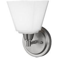 Sea Gull 4113001-962 Parkfield 1 Light 6 inch Brushed Nickel Wall Sconce Wall Light Etched Glass Painted White Inside