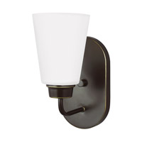 Sea Gull Lighting Kerrville 1 Light Wall Bath in Heirloom Bronze with Satin Etched Glass 4115201BLE-782