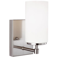 Sea Gull Lighting Alturas 1 Light Wall Bath in Brushed Nickel with Etched White Inside Glass 4124601-962
