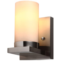 Ellington 1 Light 5 inch Brushed Nickel Wall Sconce Wall Light in Satin Etched Glass, Fluorescent
