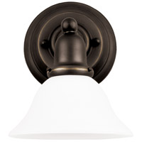 Sussex 1 Light 8 inch Heirloom Bronze Bath Vanity Wall Light in Satin Etched Glass
