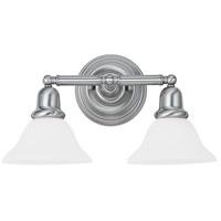 Sussex 2 Light 18 inch Brushed Nickel Bath Vanity Wall Light in Satin White Glass