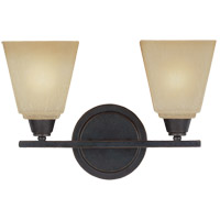 Parkfield 2 Light 15 inch Flemish Bronze Bath Light Wall Light in Creme Parchement Glass, Fluorescent