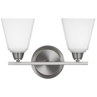 Parkfield 2 Light 15 inch Brushed Nickel Bath Light Wall Light in Etched Glass Painted White Inside, Fluorescent