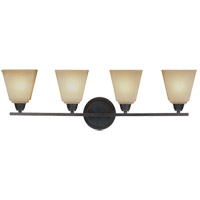 Parkfield 4 Light 31 inch Flemish Bronze Bath Light Wall Light in Creme Parchement Glass, Standard