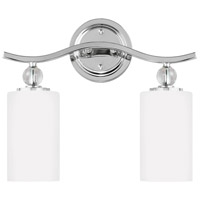 Sea Gull 4413402-05 Englehorn 2 Light 15 inch Chrome / Optic Crystal Bath Vanity Wall Light