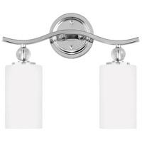 Sea Gull 4413402-05 Englehorn 2 Light 15 inch Chrome / Optic Crystal Bath Vanity Wall Light in Standard