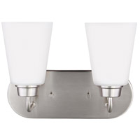 Sea Gull Lighting Kerrville 2 Light Wall Bath in Brushed Nickel with Satin Etched Glass 4415202-962