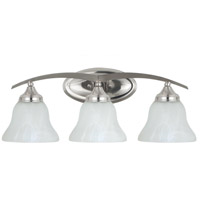 Brockton 3 Light 25 inch Brushed Nickel Bath Light Wall Light in Etched White Alabaster Glass, Fluorescent
